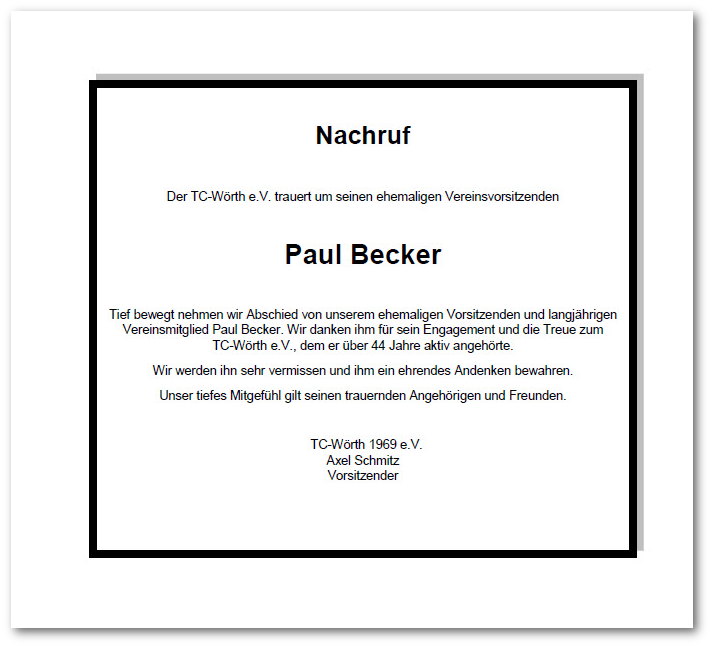 Nachruf Paul Becker Presse